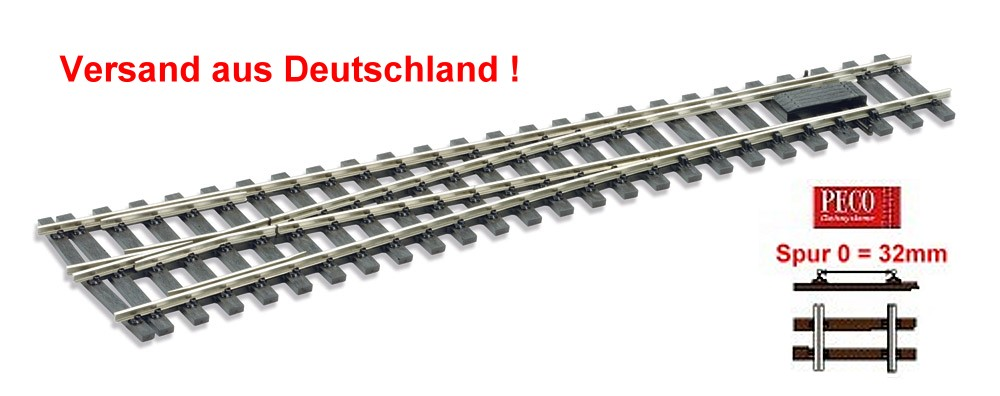 Spur 0 Code 143 - 8° Weiche links, Länge 416 mm - Peco SLE792FB Mittlerer Radius 1828 mm | günstig bestellen bei Modelleisenbahn Center  MCS Vertriebs GmbH