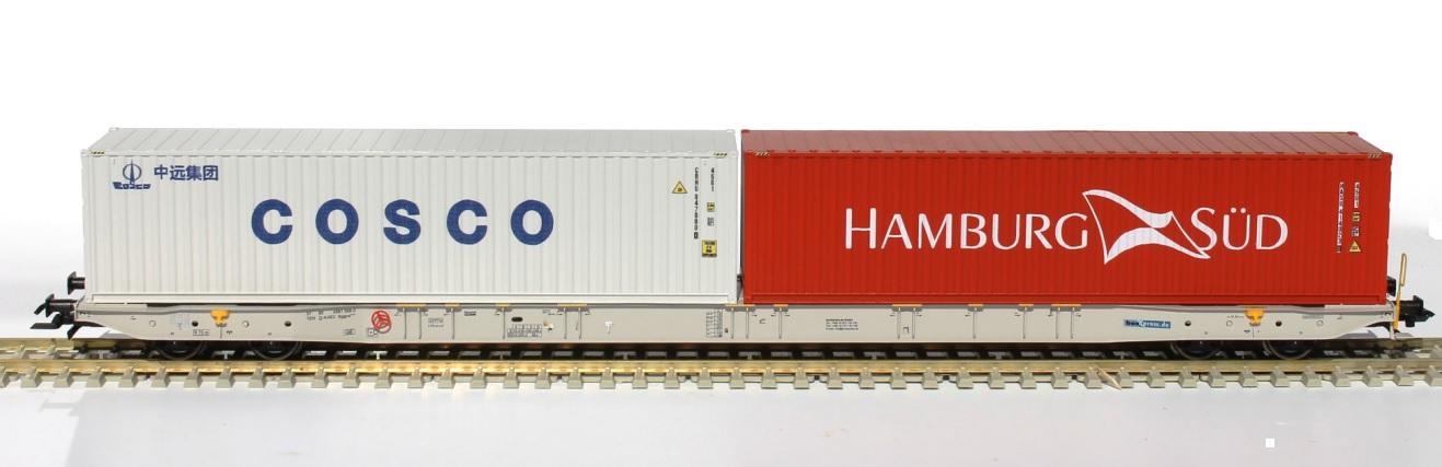 H0  Sggnss 80 boxxpresss grau + 1 COSCO Container und Hamburg Süd - IGRA 96010028  | günstig bestellen bei Modelleisenbahn Center  MCS Vertriebs GmbH