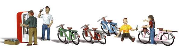 1:50 Kinder mit Fahrrädern und Getränkeautomat - Woodland  | günstig bestellen bei Modelleisenbahn Center  MCS Vertriebs GmbH