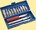 Bastelmesser: Set mit 3 Bastelmessern + und 13 Wechselklingen