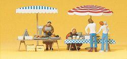 1:87 Markttische mit Sonnen- schirmen und Waren- Preiser 10052 Art.Nr.663-10052