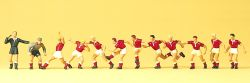 1:87 Fußballmannschaft mit Torwart und Schiedsrichter, unterschiedl. Bemalung-Set - Preiser 10075 Art.Nr.663-10075