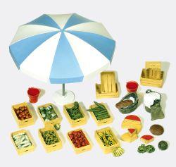 1:22,5 Marktzubehör: Schirm, Kisten, Gemüse usw.- Preiser 45207 Art.Nr.663-45207